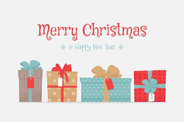 Tarjeta de feliz navidad y feliz año nuevo con regalos.
