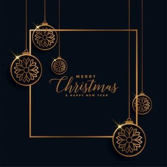 Tarjeta de feliz navidad festival dorado y negro