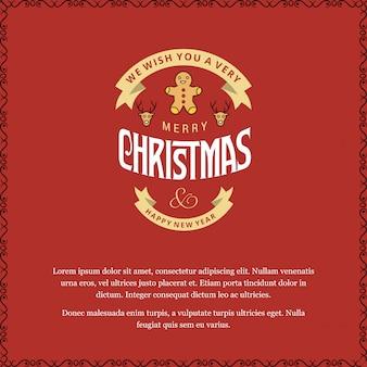 Tarjeta de feliz navidad con fondo rojo y vector de tipografía