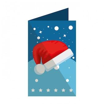 Tarjeta de feliz navidad con gorro de santa