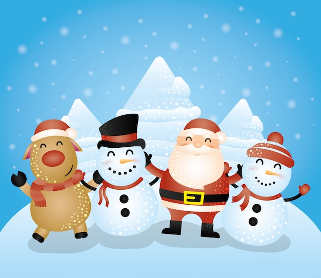 Tarjeta de feliz navidad con grupo de personajes