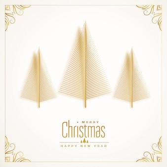 Tarjeta de feliz navidad hermoso árbol de oro
