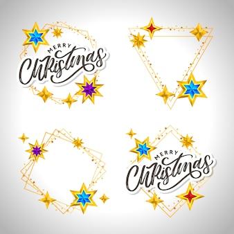 Tarjeta de feliz navidad con letras dibujadas a mano y estrellas sobre fondo oscuro. fondo lindo marco dorado de vacaciones