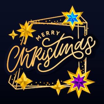 Tarjeta de feliz navidad con letras dibujadas a mano y estrellas sobre fondo oscuro.