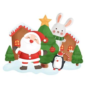 Tarjeta de feliz navidad con una linda papá noel y amigos en la ciudad de nieve.