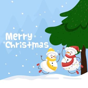 Tarjeta de feliz navidad con linda pareja de muñeco de nieve