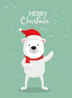 Tarjeta de feliz navidad con lindo oso