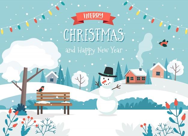 Tarjeta de feliz navidad con lindo paisaje y muñeco de nieve
