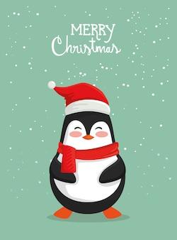 Tarjeta de feliz navidad con lindo pingüino