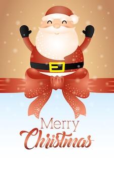 Tarjeta de feliz navidad con lindo santa claus