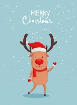 Tarjeta de feliz navidad con lindos renos