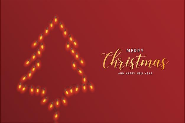 Tarjeta de feliz navidad con luces abstractas de árbol de navidad