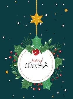 Tarjeta de feliz navidad con marco circular colgando y hojas