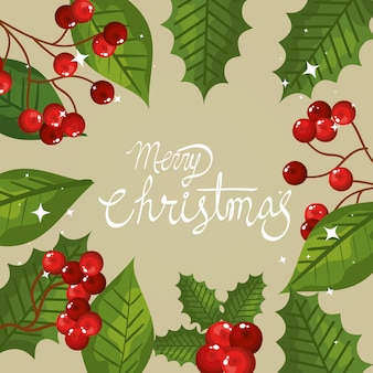 Tarjeta de feliz navidad con marco de hojas y semillas