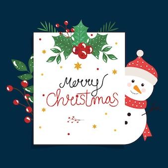 Tarjeta de feliz navidad con muñeco de nieve y hojas decorativas