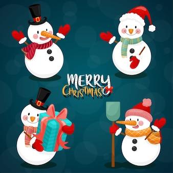Tarjeta de feliz navidad con muñeco de nieve.