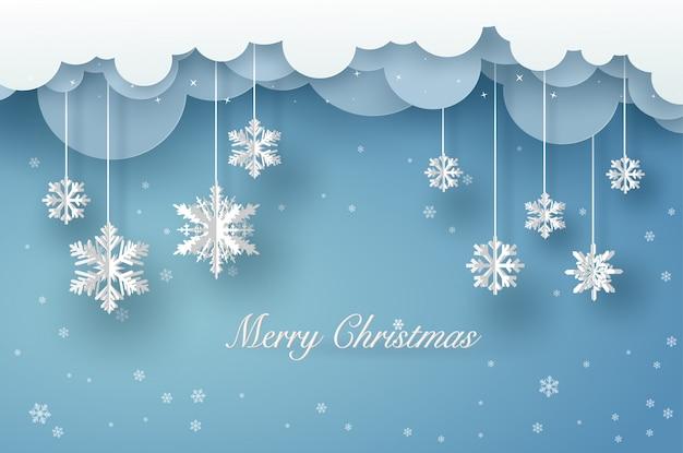 Tarjeta de feliz navidad con origami blanco copo de nieve o cristal de hielo sobre fondo azul.