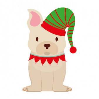 Tarjeta de feliz navidad perro