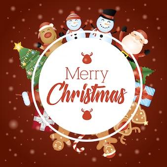 Tarjeta de feliz navidad con personajes en marco circular
