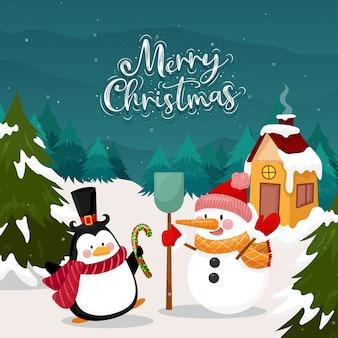 Tarjeta de feliz navidad con pingüino y muñeco de nieve sobre nieve y pino