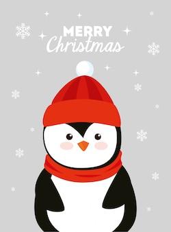 Tarjeta de feliz navidad con pingüino