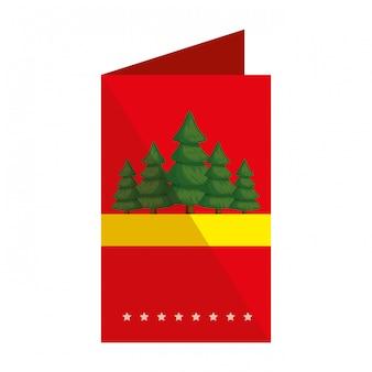 Tarjeta de feliz navidad con pinos