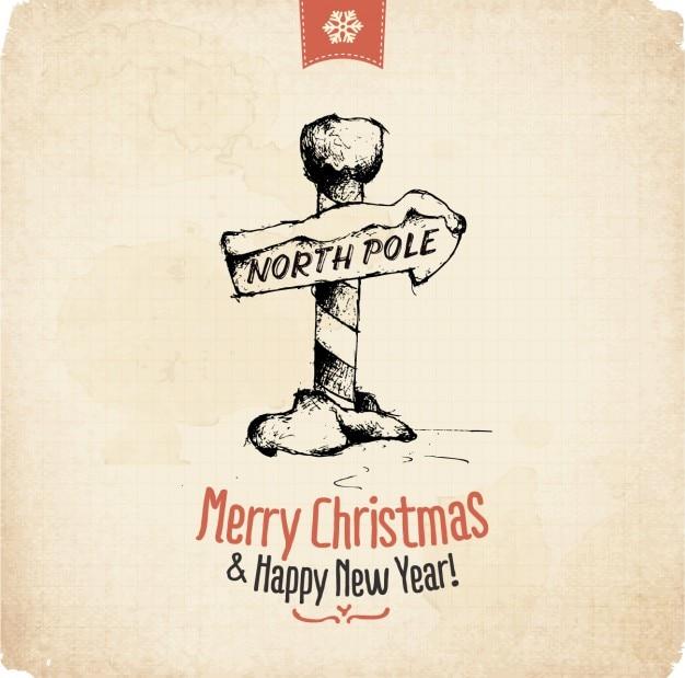 Tarjeta de feliz navidad en el polo norte