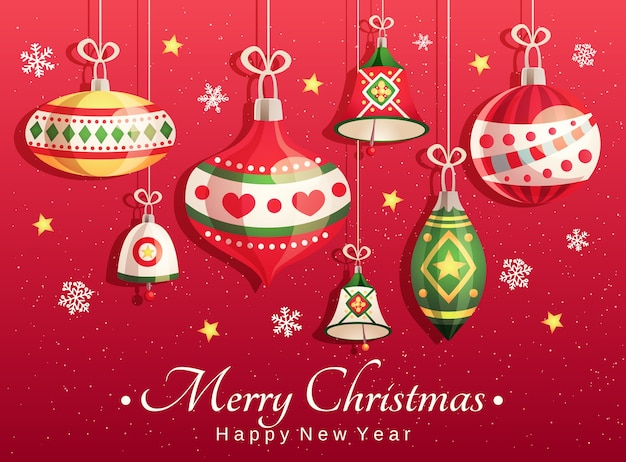 Tarjeta de feliz navidad y próspero año nuevo con elementos decorativos: juguetes navideños, campanas, copos de nieve y estrellas