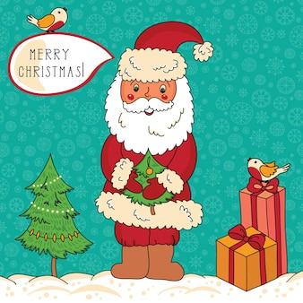 Tarjeta de feliz navidad y próspero año nuevo con santa