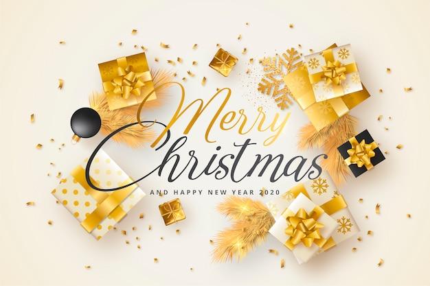 Tarjeta de feliz navidad con regalos dorados y negros