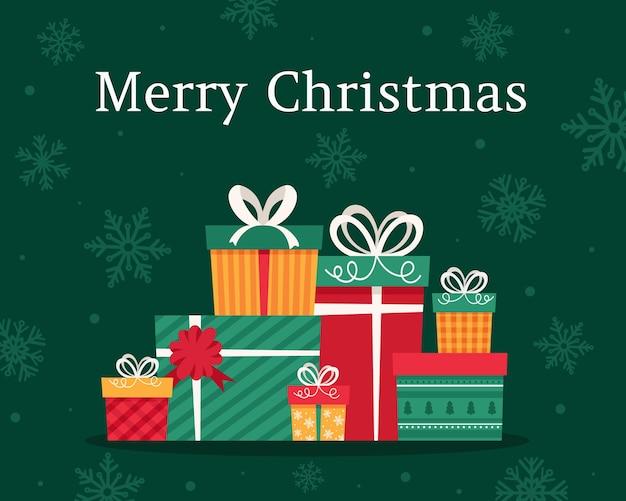 Tarjeta de feliz navidad. regalos de navidad.