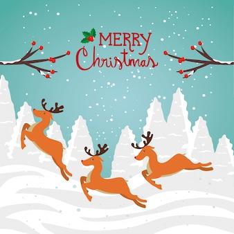 Tarjeta de feliz navidad con renos grupales en paisaje de invierno