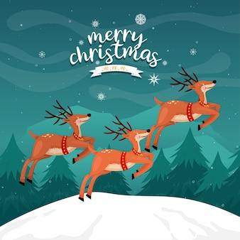 Tarjeta de feliz navidad con renos en la montaña con pino