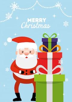 Tarjeta de feliz navidad con santa claus y cajas de regalo