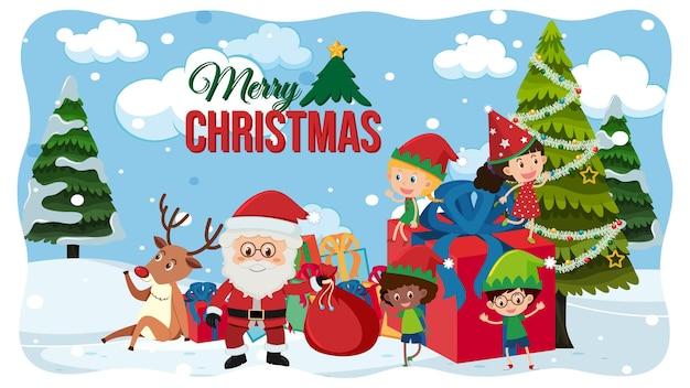 Tarjeta de feliz navidad con santa claus en escena de nieve