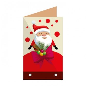 Tarjeta de feliz navidad con santa claus