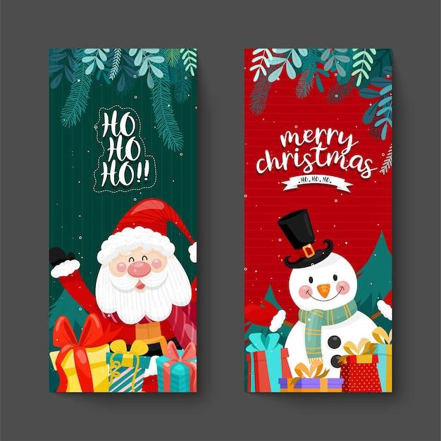 Tarjeta de feliz navidad con santa, muñeco de nieve y caja de regalo.