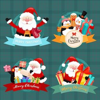 Tarjeta de feliz navidad con santa, muñeco de nieve, pingüino y caja de regalo.