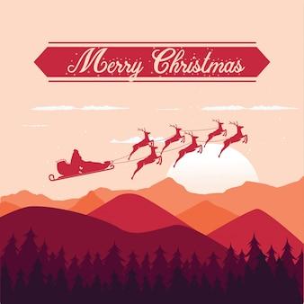 Tarjeta de feliz navidad trineo volador