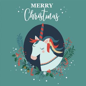 Tarjeta de feliz navidad con unicornio.