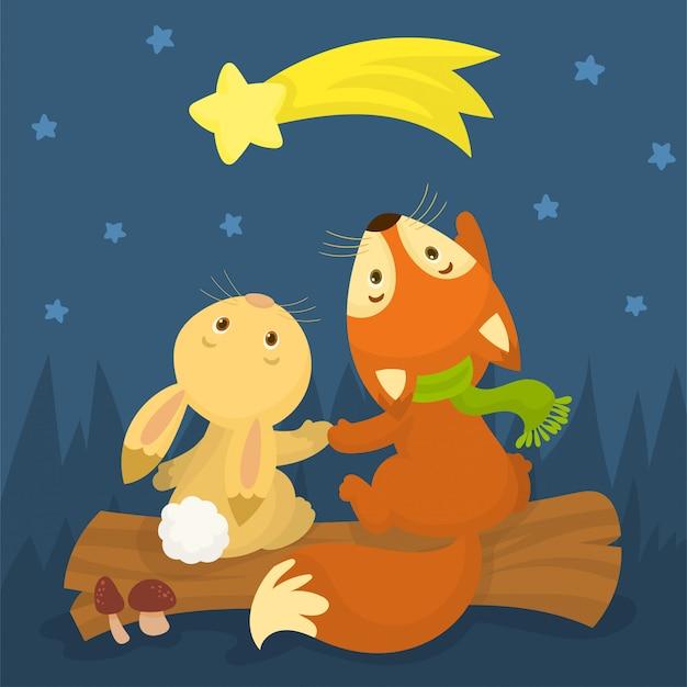 Tarjeta de feliz navidad con zorro y conejo