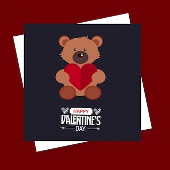Tarjeta feliz del oso del día de tarjeta del día de san valentín