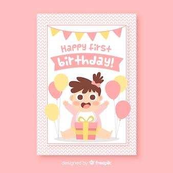 Tarjeta de feliz primer cumpleaños