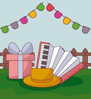Tarjeta festa junina con acordeón y caja de regalo.