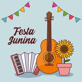 Tarjeta festa junina con guitarra y acordeón