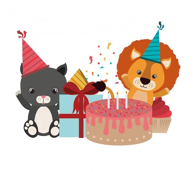 Tarjeta de festejo con animales