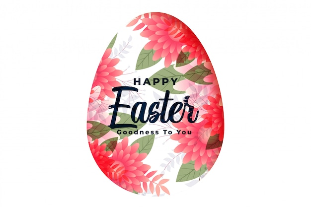 Tarjeta festiva decorativa feliz del huevo de la flor de pascua