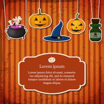 Tarjeta festiva de halloween con texto en marco colgando calabazas sombrero de bruja caldero botella de veneno