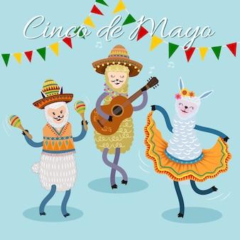 Tarjeta del festival cinco de mayo con linda alpaca cantando y bailando.