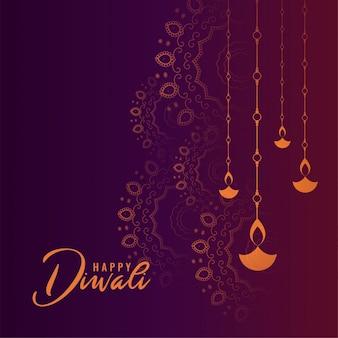 Tarjeta de festival de diwali feliz púrpura preciosa